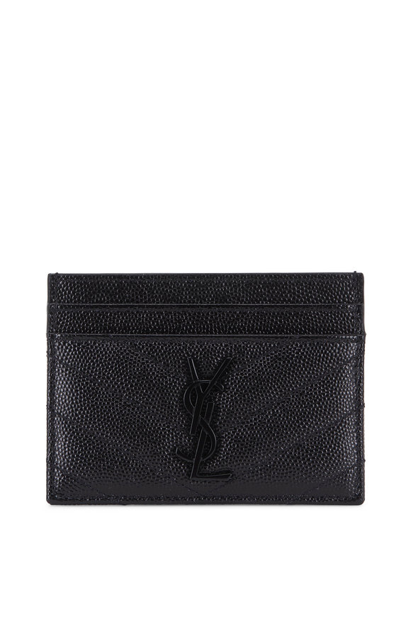 Saint Laurent Black Pebble Leather Tonal Logo Card Case
