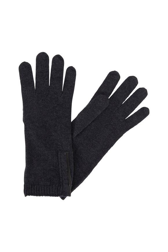 Brunello Cucinelli Onyx Cashmere Monili Trim Gloves
