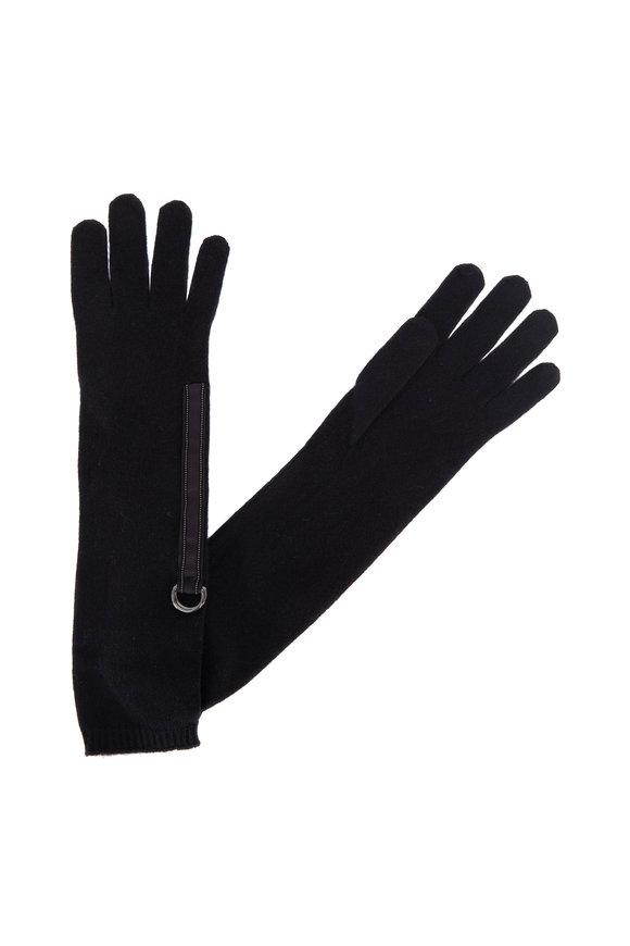 Brunello Cucinelli Onyx Cashmere Monili Trim Long Gloves