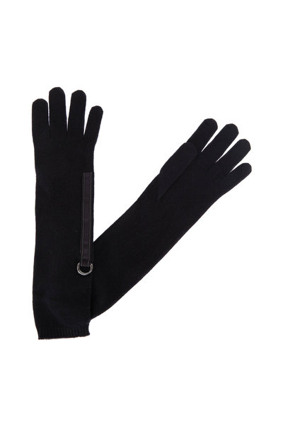 Brunello Cucinelli - Onyx Cashmere Monili Trim Long Gloves