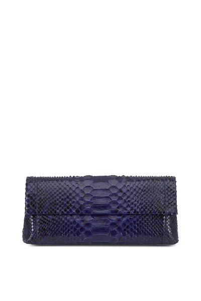 Nancy Gonzalez - Gotham Navy Blue Python Clutch