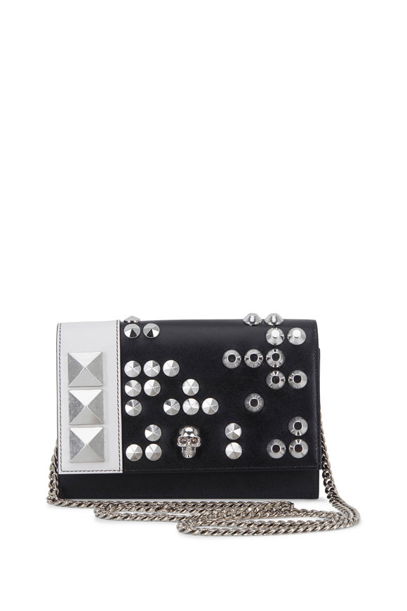 Alexander McQueen Black & White Leather Studded Small Chain Bag
