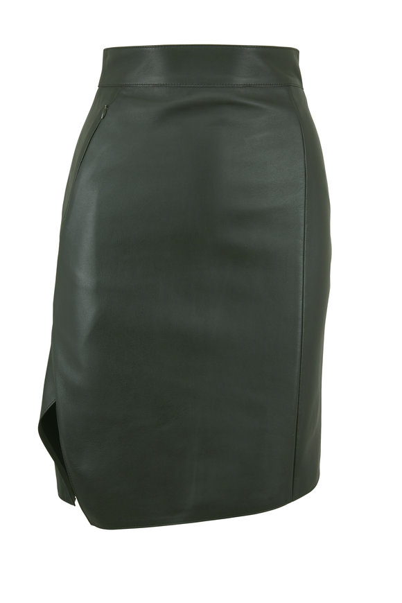 Akris Pine Leather Front Faux Wrap Style Skirt