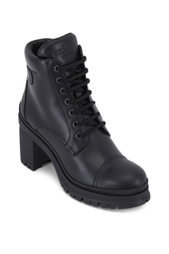 Prada Black Leather Lug Sole Combat Boots, 55mm