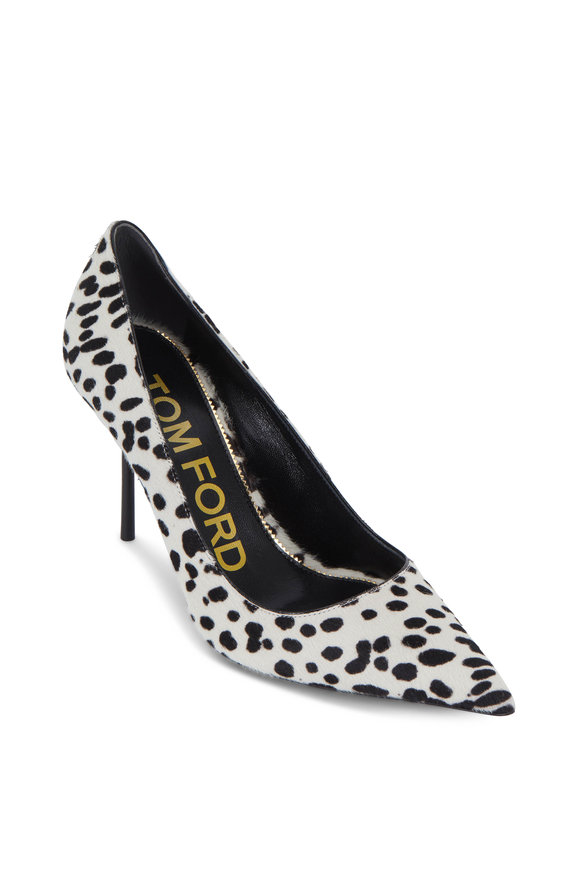 Tom Ford White & Black Dotted Calf Hair Classic Pump, 85mm