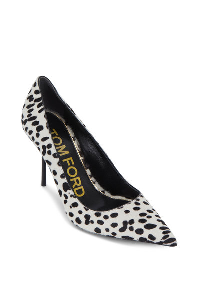 Tom Ford - White & Black Dotted Calf Hair Classic Pump, 85mm