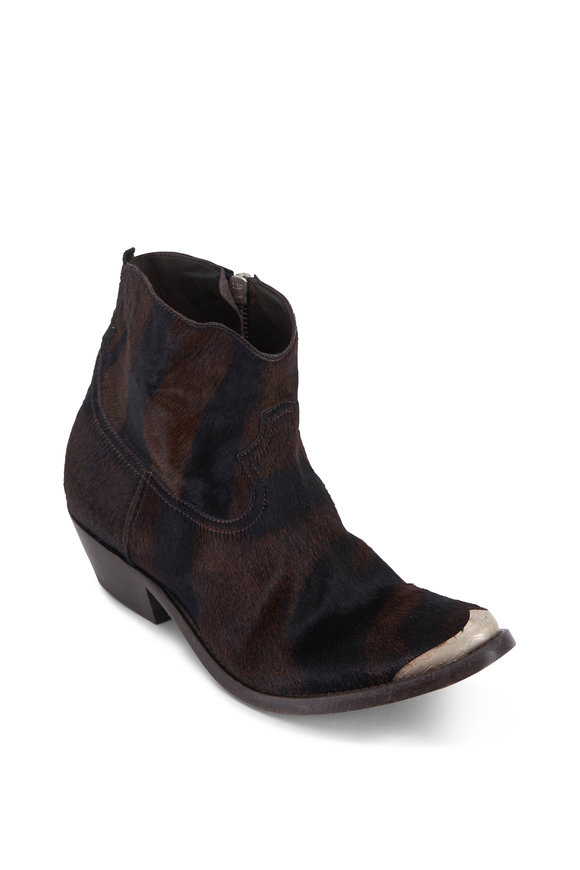 Golden Goose Young Tiger Print Pony Hair Western Boot, 50mm