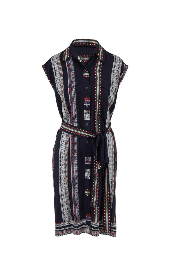 Derek Lam Navy Stripe Silk Belted Cap Sleeve Dress