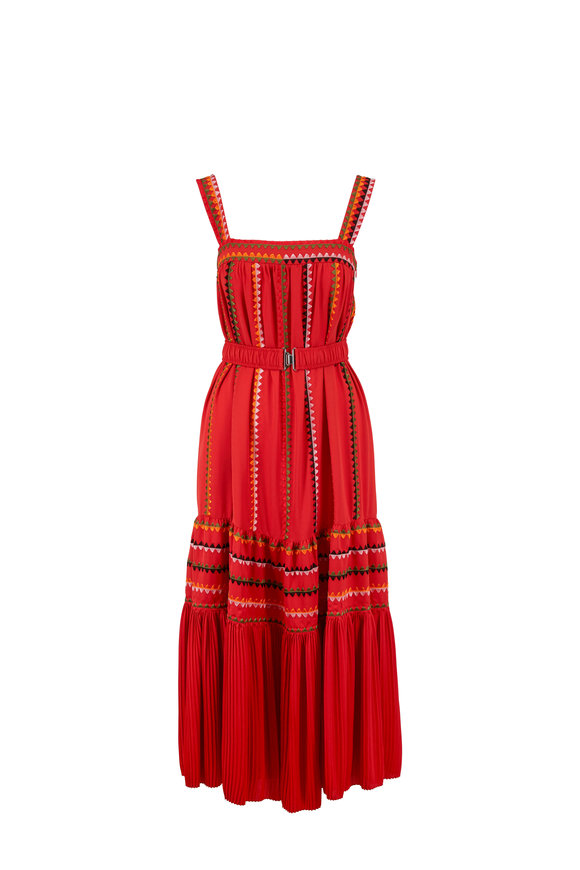 Derek Lam Blood Orange Silk Georgette Embroidered Maxi Dress