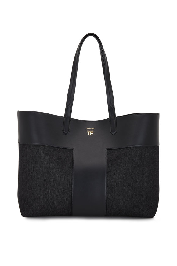 Tom Ford Black Luxe Leather & Denim Large Tote
