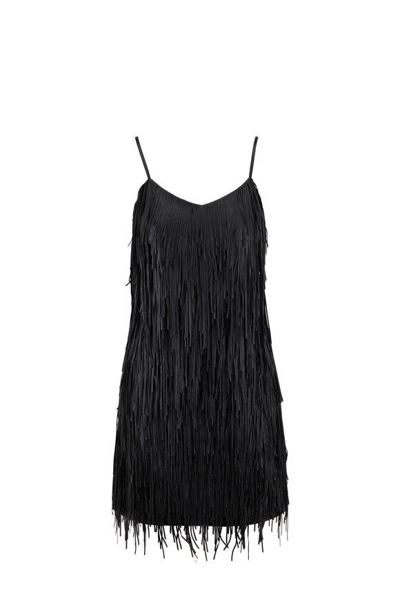 Michael Kors Collection Black Lambskin Leather Fringe Dress