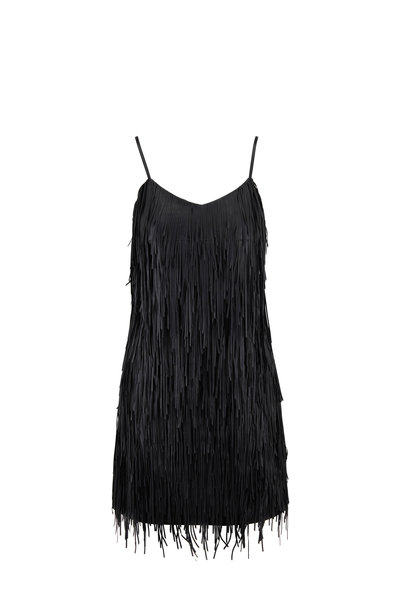 Michael Kors Collection - Black Lambskin Leather Fringe Dress