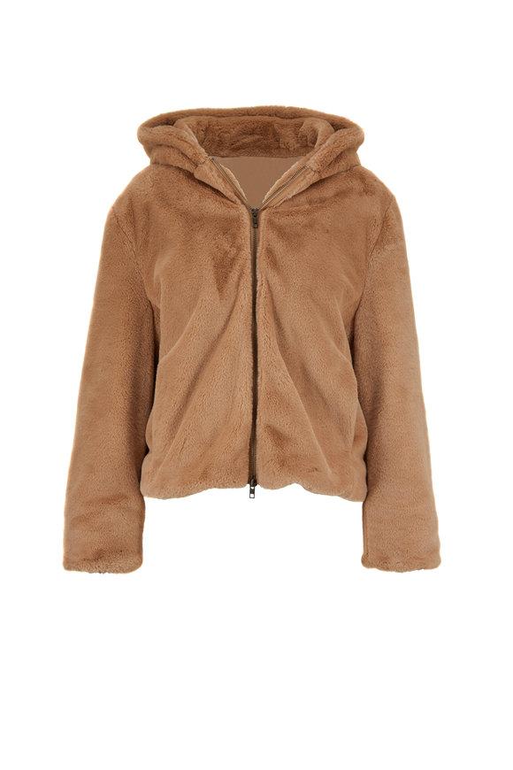 Vince Sand Dollar Faux Fur Front Zip Hoodie