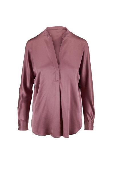 Vince - Amarena Silk Banded Collar Blouse