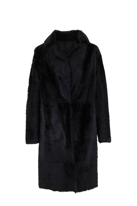 Vince Black Lamb Shearling Long Coat