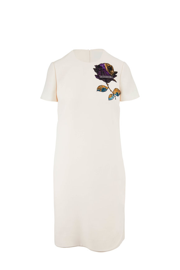 Valentino Crepe Couture Ivory Undercover Embroidered Dress