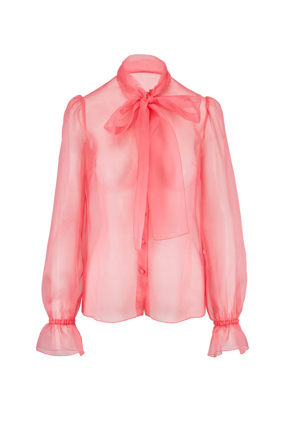 Dolce & Gabbana Pink Silk Pussy Bow Sheer Button Down Blouse