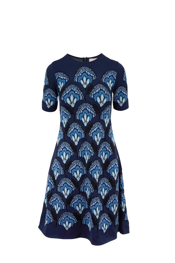 Carolina Herrera Sapphire Multi Jacquard Knit Fit & Flare Dress