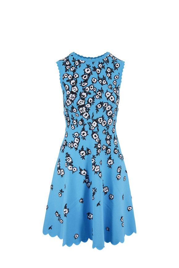 Carolina Herrera Azure Multi Jacquard Sleeveless Fit & Flare Dress