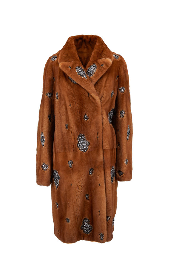 Oscar de la Renta Furs Wild Type Mink Crystal Embroidered Coat