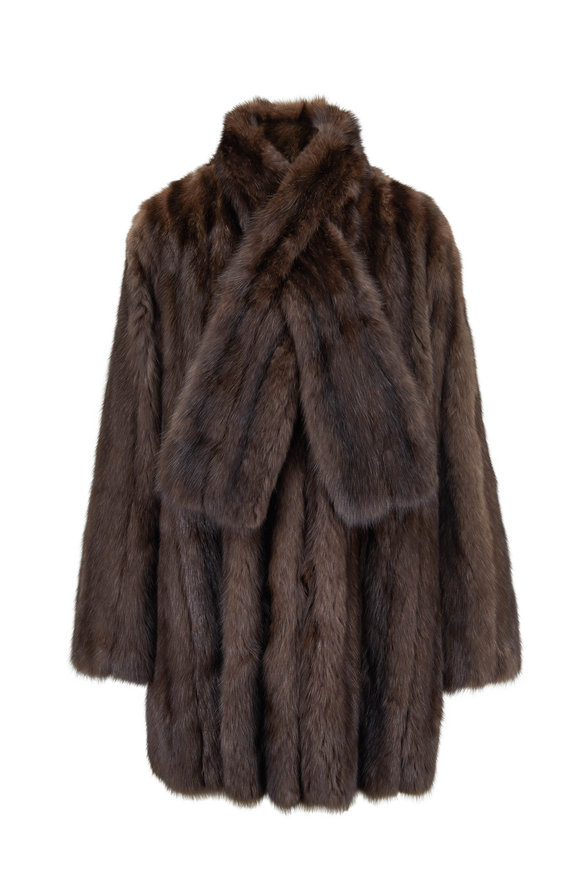 Oscar de la Renta Furs Natural Sable Tie Neck Swing Coat