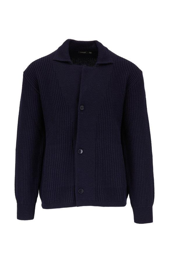 Z Zegna Navy Wool Knit Shirt Jacket