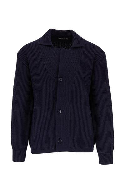 Z Zegna - Navy Wool Knit Shirt Jacket