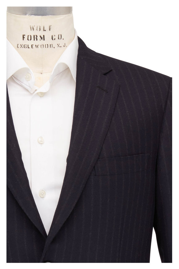 Brioni Navy Blue Brushed Wool Chalk Stripe Suit