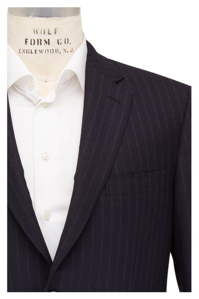 Brioni - Navy Blue Brushed Wool Chalk Stripe Suit