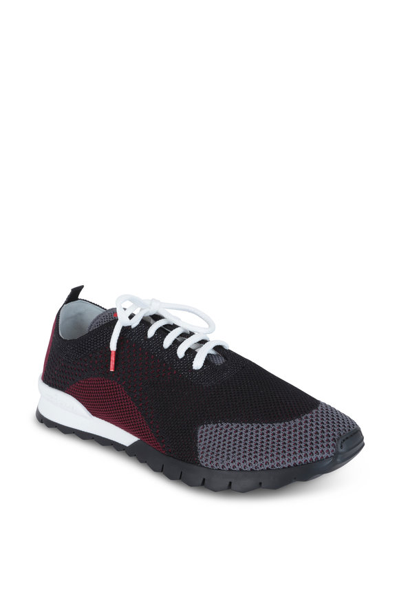 Kiton Black, Gray & Burgundy Knit Sneaker