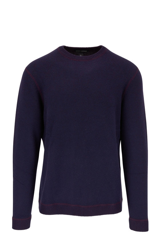 Autumn Cashmere Navy & Maroon Reversible Cashmere Pullover