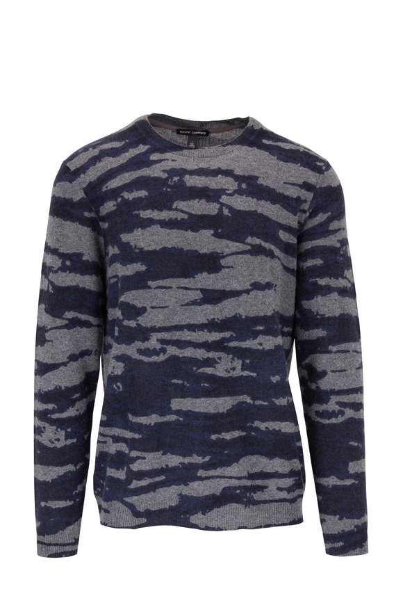 Autumn Cashmere Navy & Black Wave Print Cashmere Crewneck Pullover