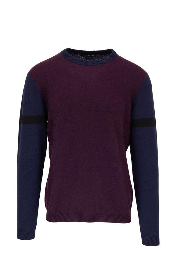 Autumn Cashmere Navy & Maroon Stripe Sleeve Cashmere Pullover