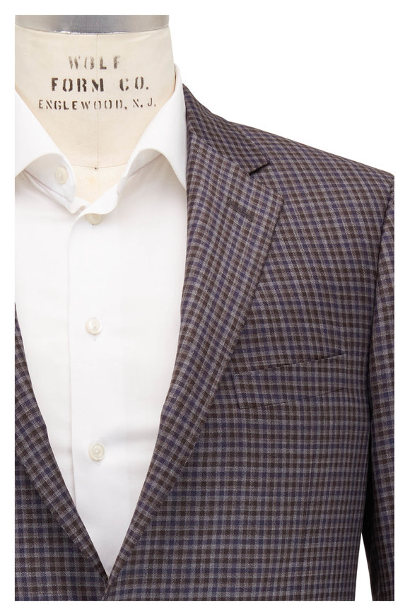 Samuelsohn Brown & Gray Plaid Wool Sportcoat
