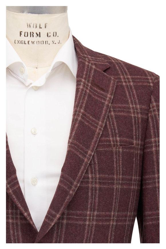 Samuelsohn Bennet Burgundy & Tan Plaid Wool Sportcoat