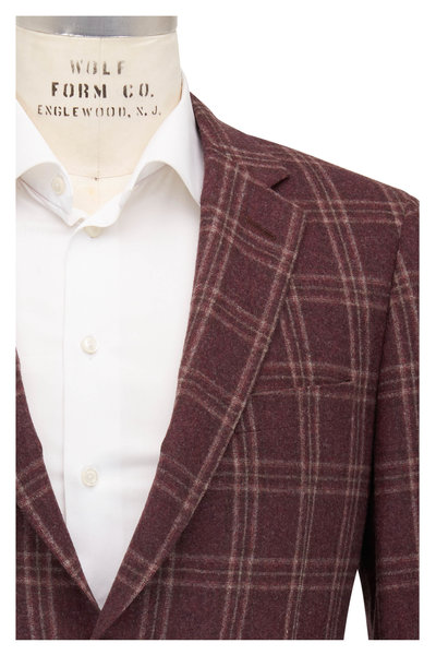 Samuelsohn - Bennet Burgundy & Tan Plaid Wool Sportcoat