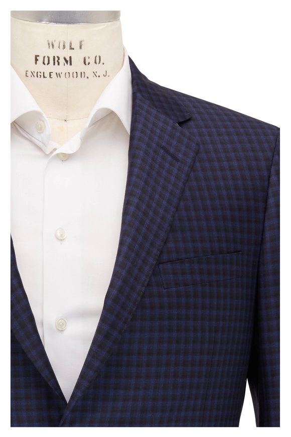 Samuelsohn Bennet Black & Navy Blue Check Wool Sportcoat