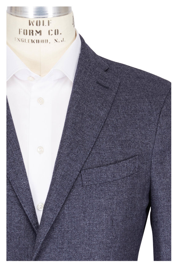 Boglioli Solid Navy Blue Cashmere Sportcoat