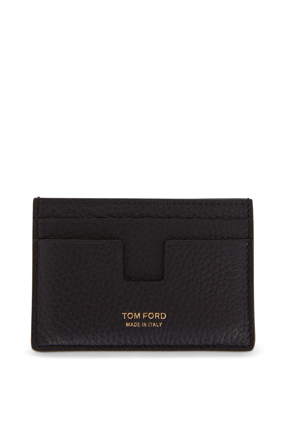 Tom Ford T-Line Black Grained Leather Card Case