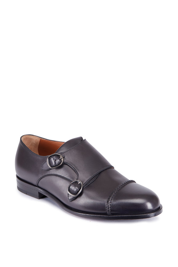 Ermenegildo Zegna Black Double Monk Strap Shoe