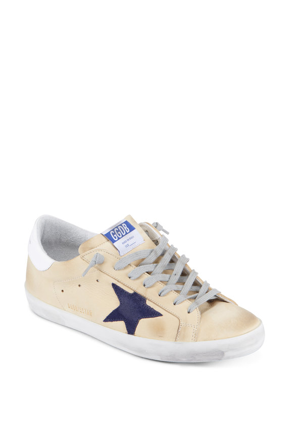 Golden Goose Men's Leather Cream Blue Star Sneaker