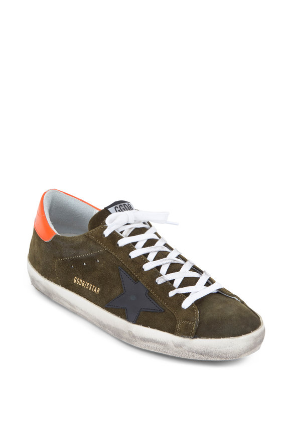 Golden Goose Men's Superstar Olive Green Suede Sneaker
