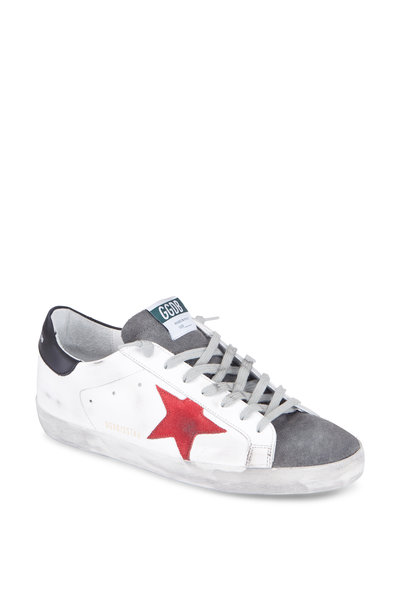 Golden Goose - Men's White & Grey Leather Red Suede Star Sneaker