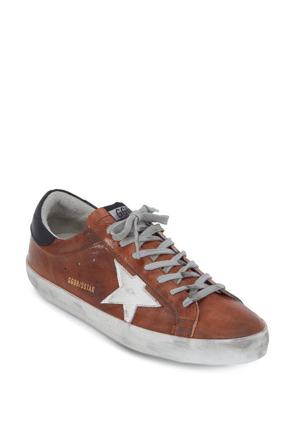 Golden Goose Men's Superstar Cognac Leather Sneaker