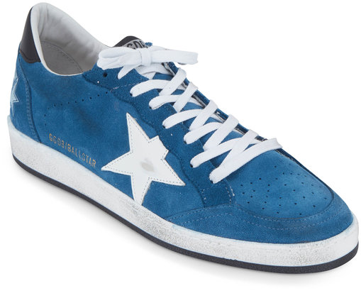 Golden Goose Men's Ball Star Blue Suede Sneaker