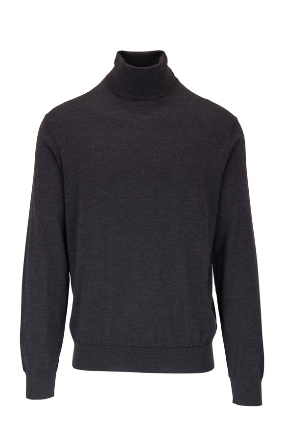 Ermenegildo Zegna Charcoal Gray Cashmere & Silk Turtleneck