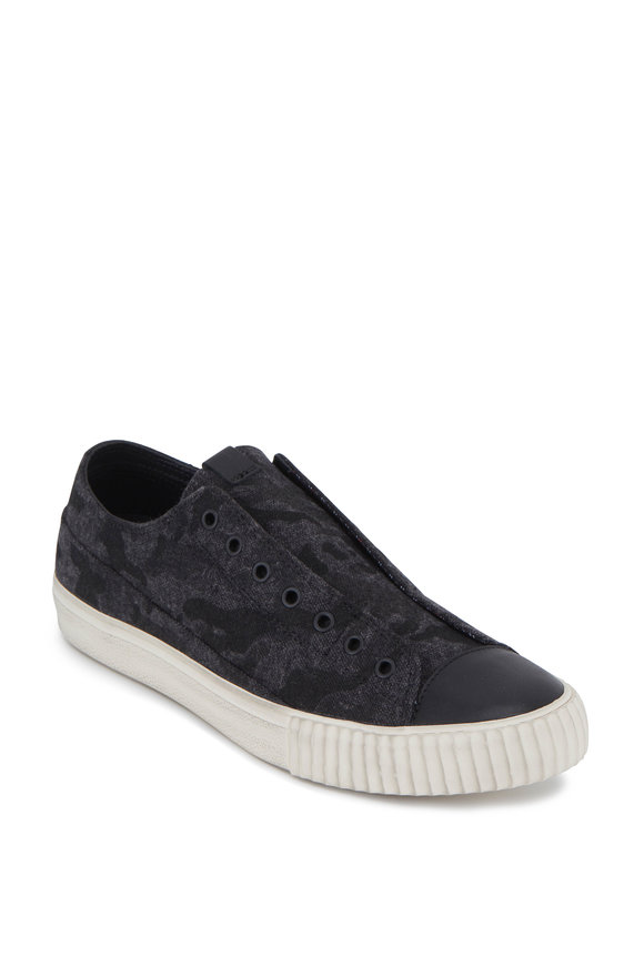 John Varvatos Mineral Black Camo Tweed Laceless Low-Top Sneaker