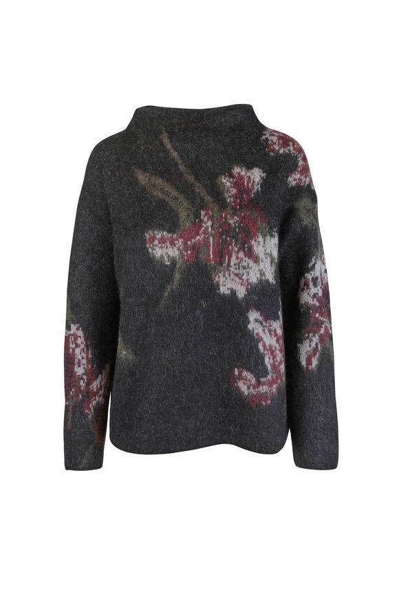 Vince Black & Dahlia Wine Floral Funnel Neck Sweater
