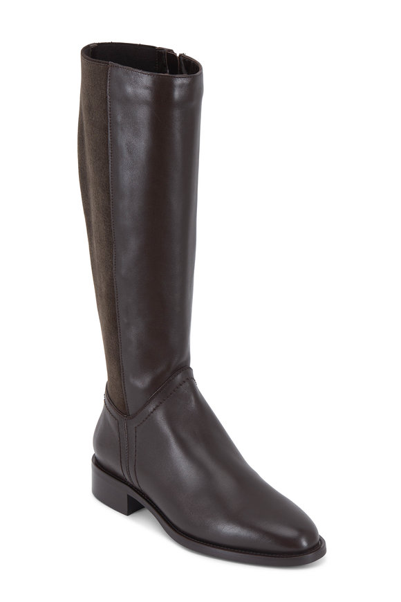 Aquatalia Nia Espresso Leather & Stretch Cashmere Tall Boot