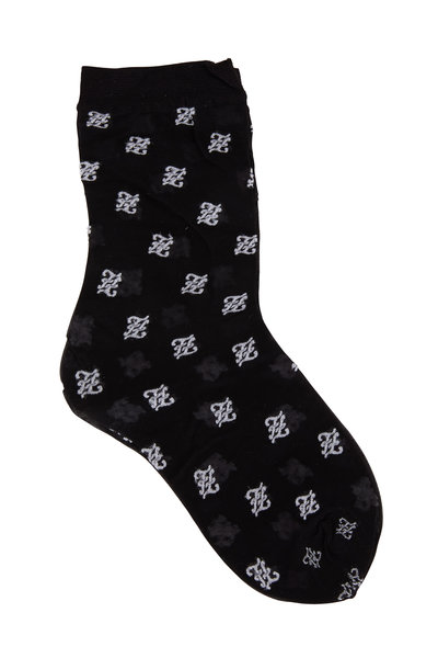 Fendi - Black Karligraphy Logo Embroidered Socks